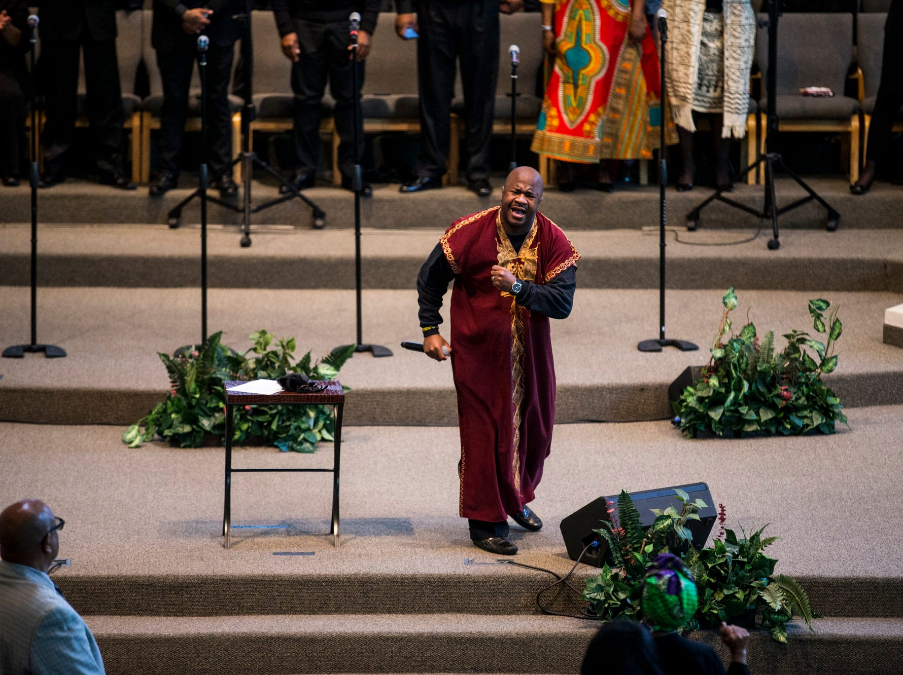 Pastor Terry Mackey preaches during the 7:30 a.m. service on Feb. 24, 2019, at Pilgrim Rest Baptist Church in Phoenix. Mackey was appointed to replace the late Bishop Alexis Thomas.