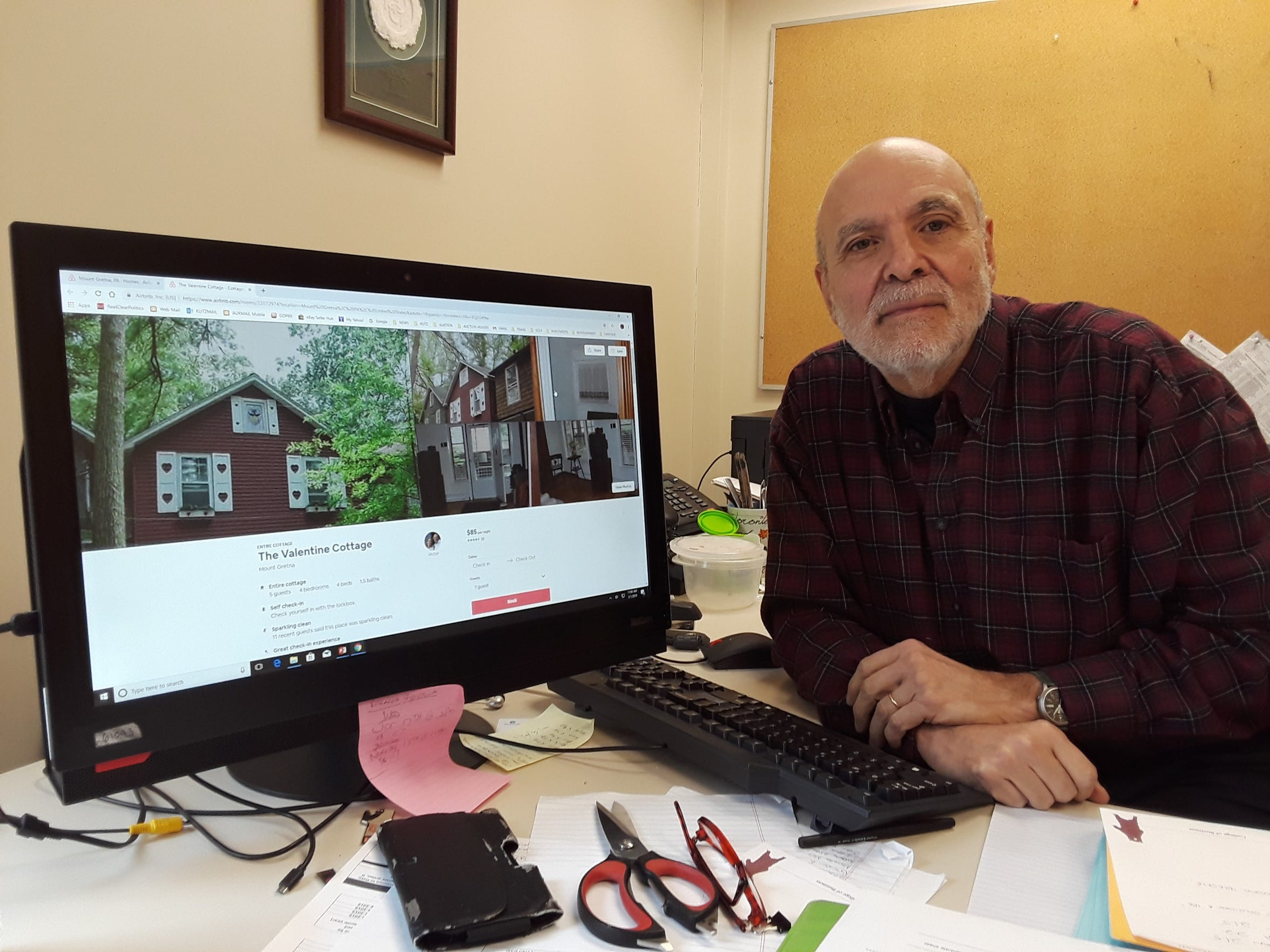 Victor Massad advertises his Valentine Cottage in the Mount Gretna Campmeeting on Airbnb for short-term rentals.
