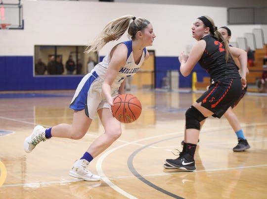 Millbrook's Sam McKenna drives toward the basket against Seward during the Section 9 Class C girls basketball final on Feb. 28.