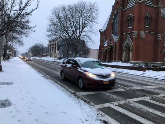 In this file photo, snow slightly impacts the morning commute as seen on March 1, 2019.