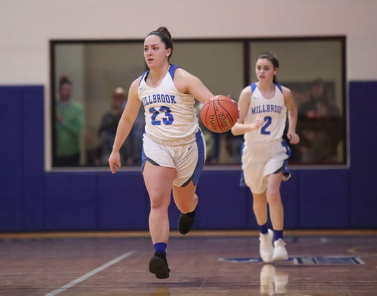 Millbrook's Claire Martell pushes the ball up court against Seward during the Section 9 Class C girls basketball final on Feb. 28.