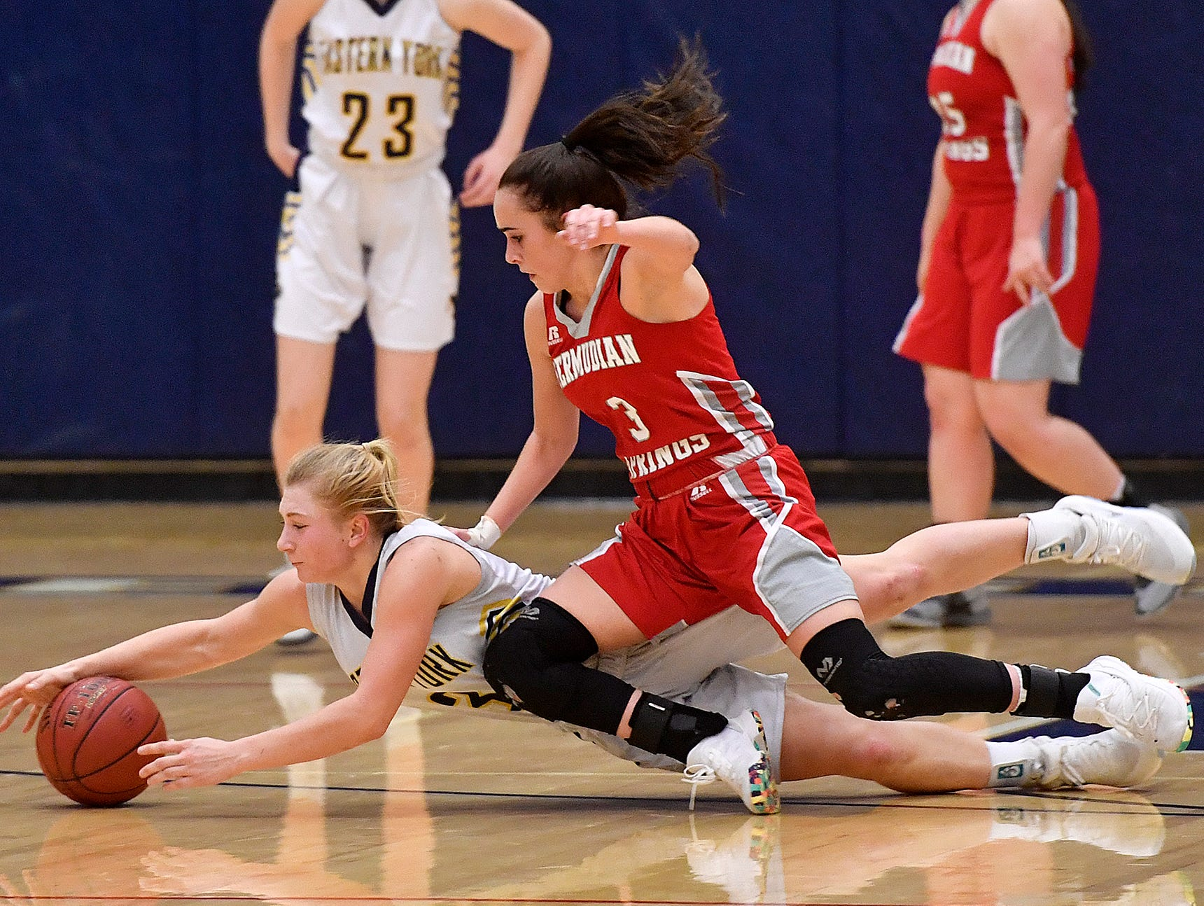 Bermudian Springs faces Eastern York in the District 3 Class 4-A fifth place basketball game, Thursday, Feb. 28, 2019.John A. Pavoncello photo