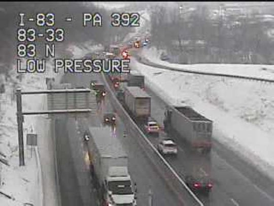 Traffic is backed up due to a crash on Interstate 83 in northern York County Friday, March 1. Photo courtesy of 511pa.com.