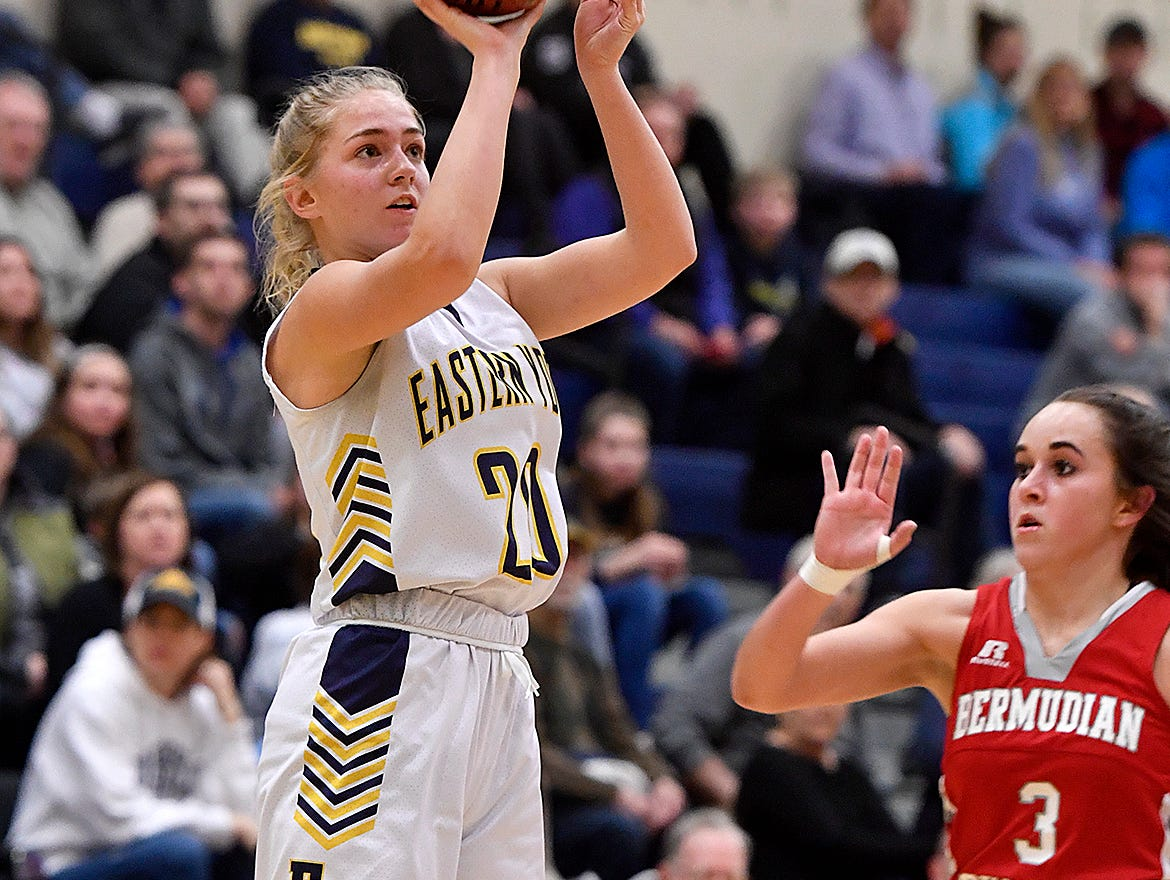 Abby Malone of Eastern York shoots from just inside the three-point line during the District 3 Class 4-A fifth place basketball game, Thursday, Feb. 28, 2019.John A. Pavoncello photo