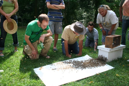 Onlookers view a live swarm demo at Nixon County Park (Photo courtesy of Jeremy Barnes).