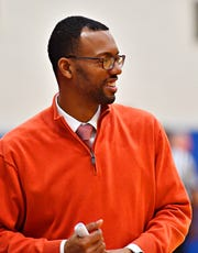 York High Head Coach Clovis Gallon Sr., during PIAA District 3, Class 5-A basketball consolation game action against Northern at William Penn Senior High School in York City, Thursday, Feb. 28, 2019. York High would win the game 86-68. Dawn J. Sagert photo