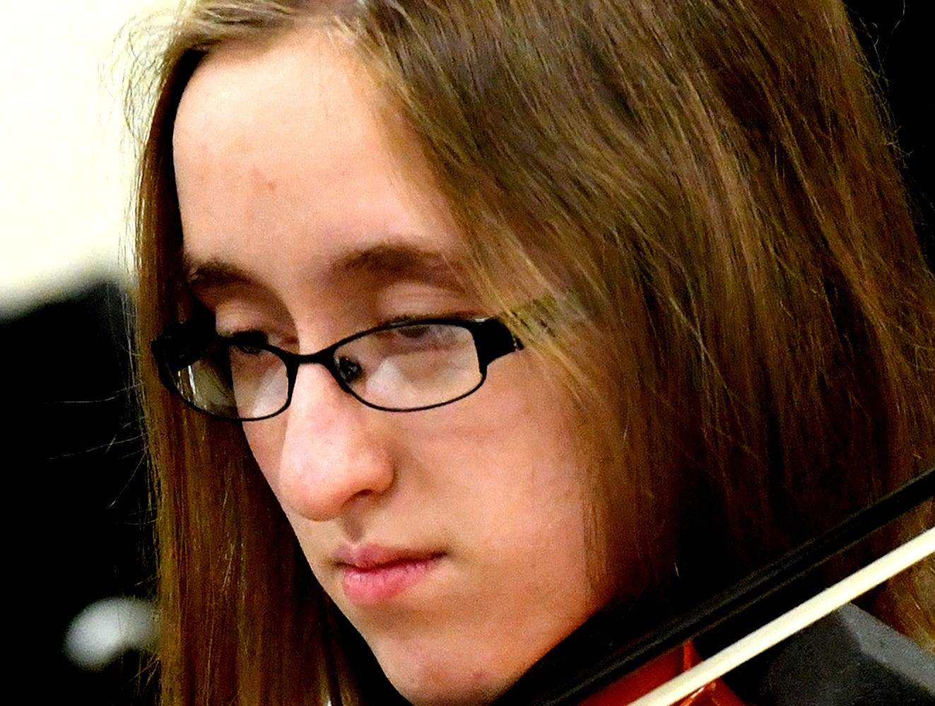 """Red Lion High School orchestra members rehearse """"Obsidian Rainbow"""" at the school Friday, March 1, 2019. The piece was written by Red Lion graduate and New York composer Derek Cooper. He is premiering the piece via the string orchestra on Wednesday, March 6. Cooper will be at the school working with the orchestra beforehand. Bill Kalina photo"""