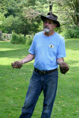 Jeremy Barnes, past president of York County Beekeeper's Association, shows a live demo of a swarm at Nixon Park (Photo courtesy of Jeremy Barnes).