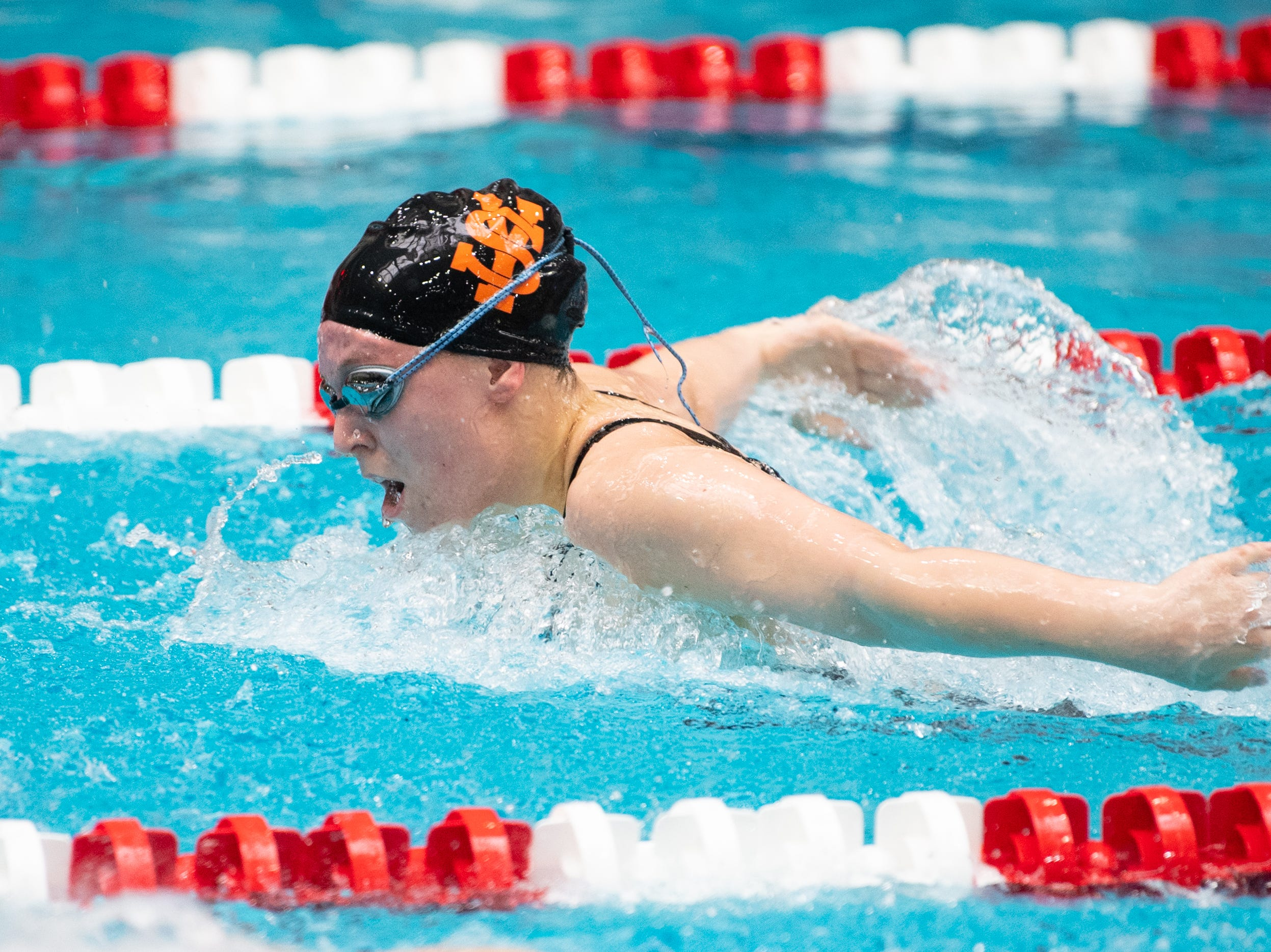 York Suburban's Maddy Abel competes in the Girls 100 Yard Butterfly during the PIAA District 3 Girls AA Championship, March 1, 2019 at Cumberland Valley High School.