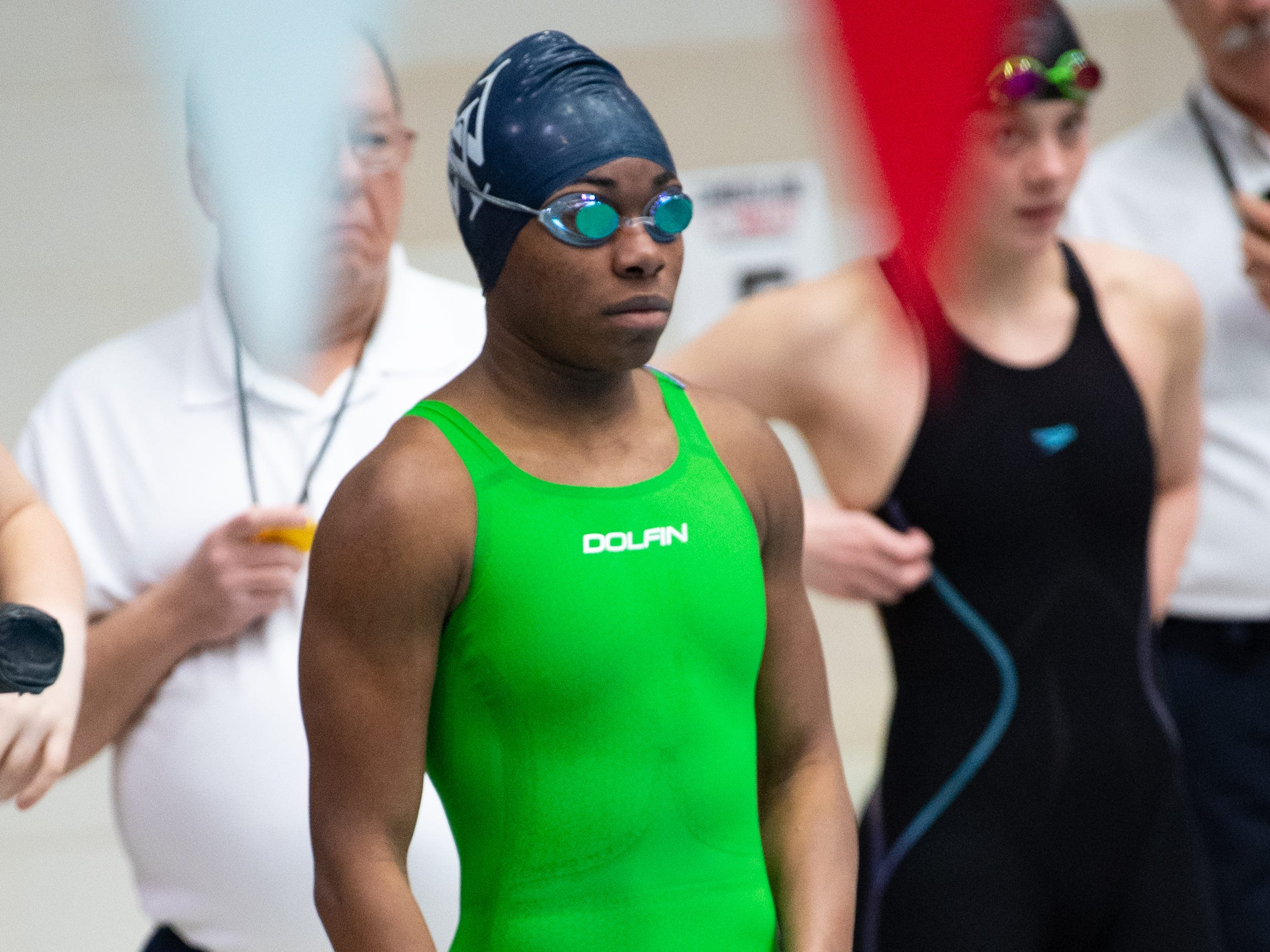 Tesia Thomas of West York prepares to start the Girls 200 Yard Freestyle Relay during the PIAA District 3 Girls AA Championship, March 1, 2019 at Cumberland Valley High School.