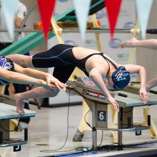 Meghan French of West York starts the Girls 200 Yard Freestyle during the PIAA District 3 Girls AA Championship, March 1, 2019 at Cumberland Valley High School.