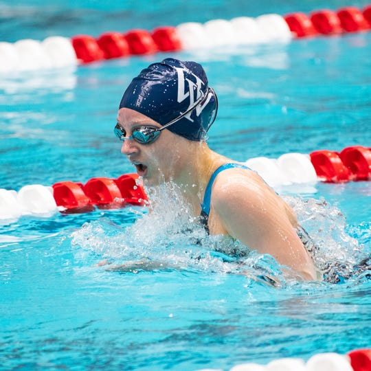 Meaghan Harnish of West York has a commanding lead in the Girls 200 Yard IM during the PIAA District 3 Girls AA Championship, March 1, 2019 at Cumberland Valley High School.