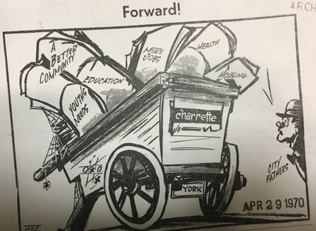 The Gazette and Daily cartoonist Walt Partymiller framed up issues addressed in the York Charrette of 1970.
