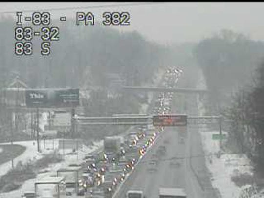 Traffic is at a standstill on Interstate 83 Friday morning due to a crash.