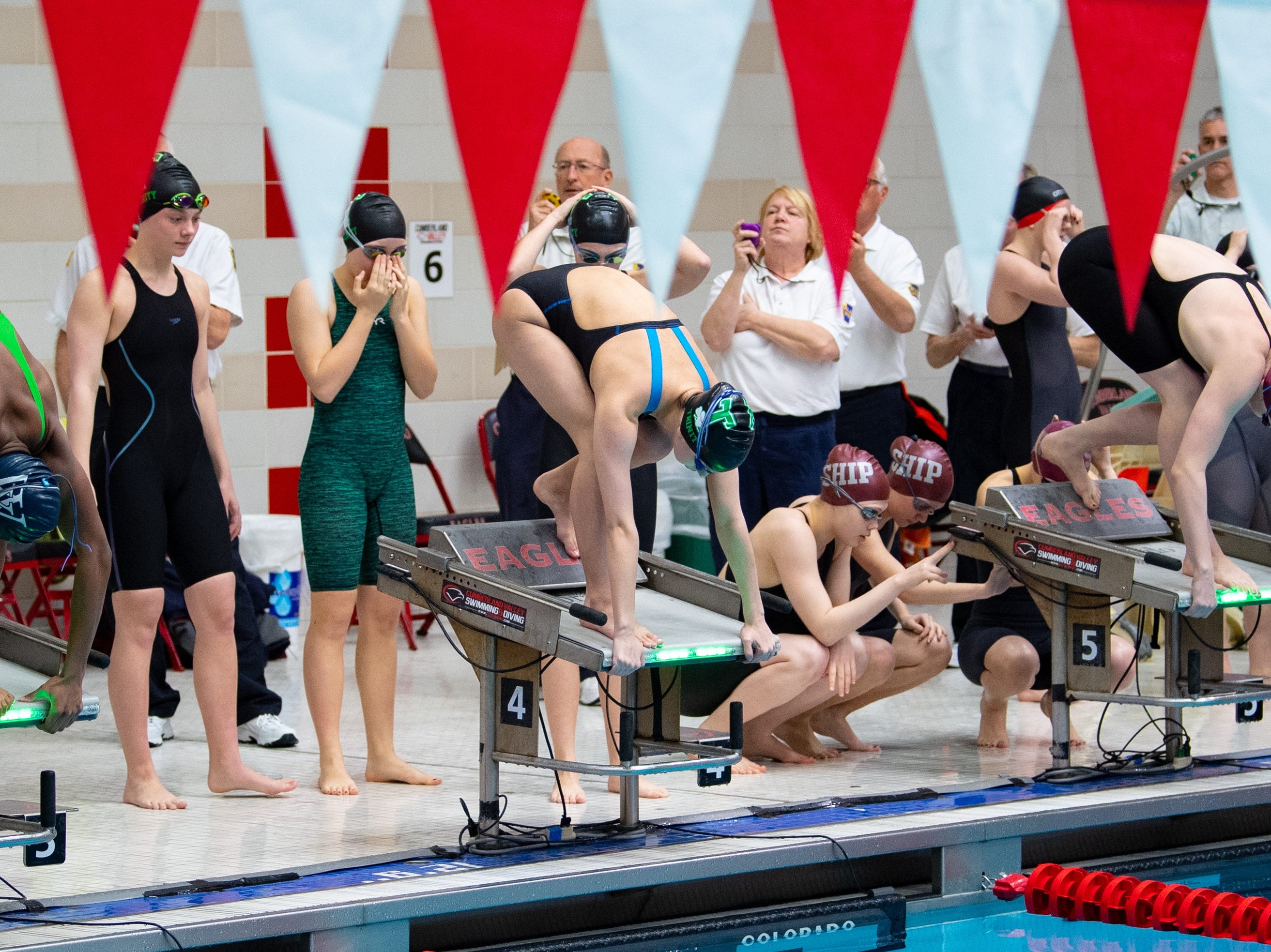 The second heat of the Girls 200 Yard Freestyle Relay is about to begin during the PIAA District 3 Girls AA Championship, March 1, 2019 at Cumberland Valley High School.