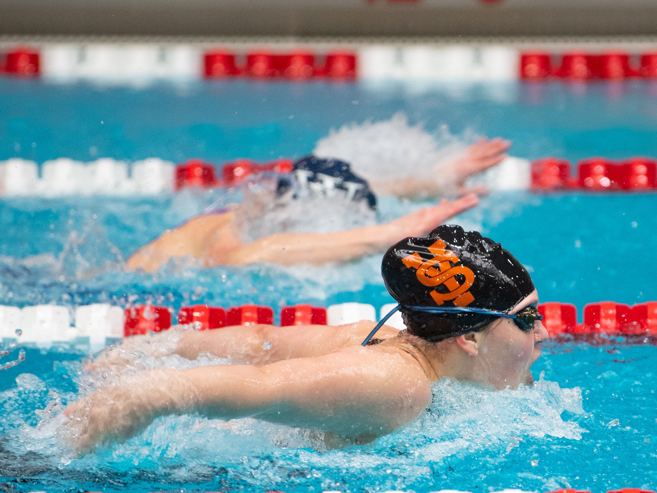York Suburban's Mattie Quinn looks to pull ahead during the Girls 100 Yard Butterfly in the PIAA District 3 Girls AA Championship, March 1, 2019 at Cumberland Valley High School.