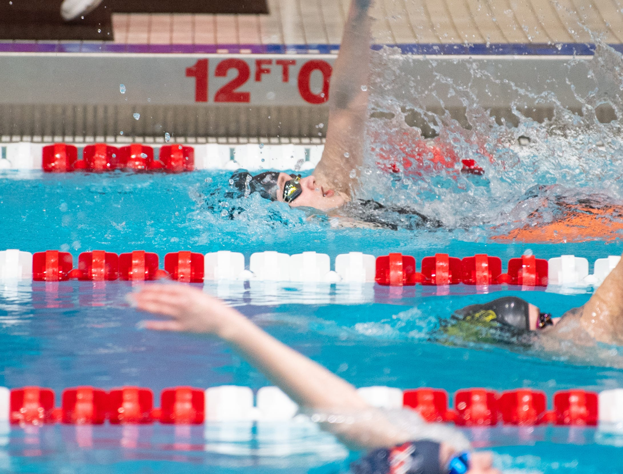 Maddie Hoerner of Northern Lebanon is neck and neck with the other swimmers in the Girls 200 Yard IM during the PIAA District 3 Girls AA Championship, March 1, 2019 at Cumberland Valley High School.