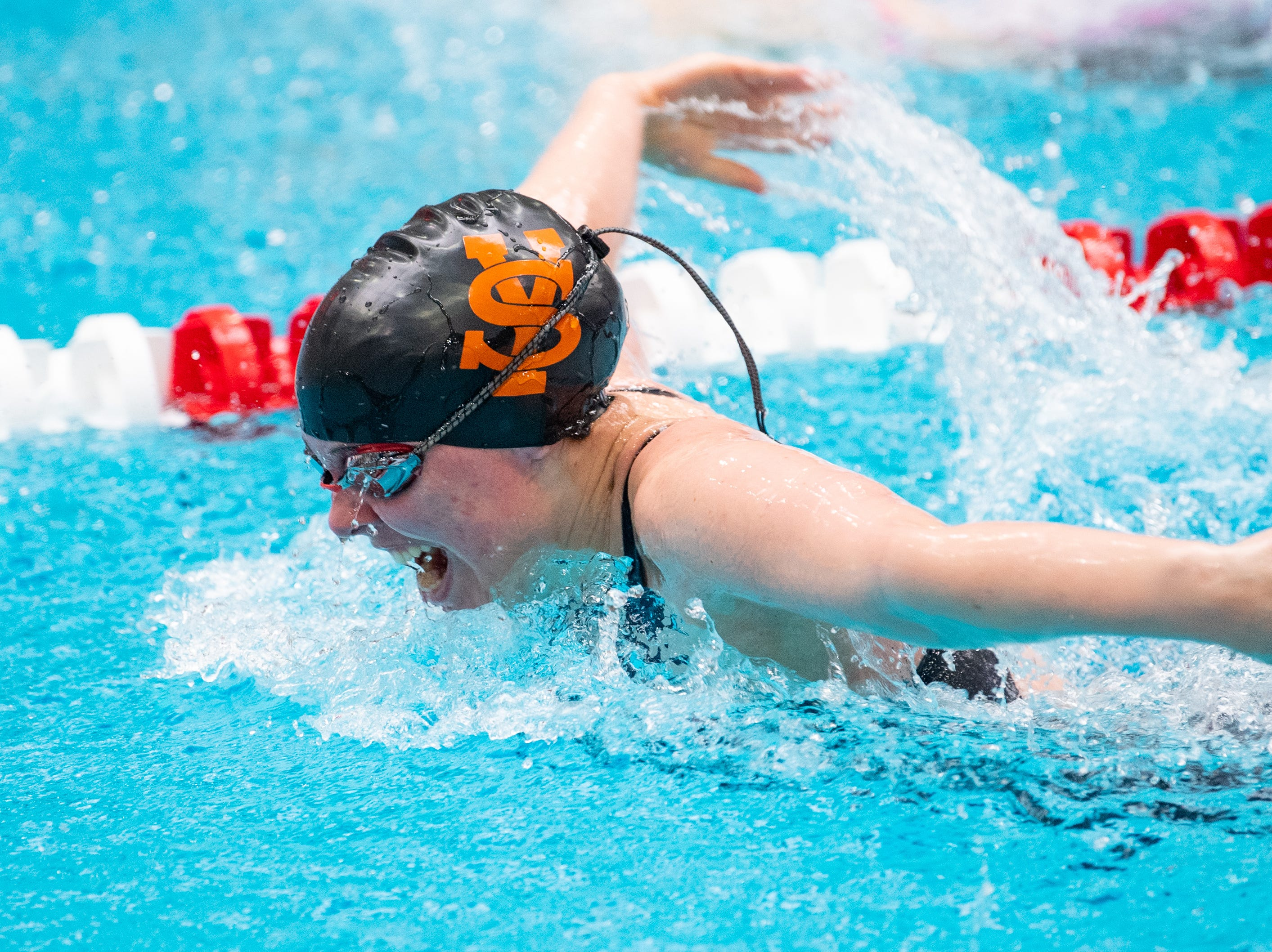 Keely Walsh of York Suburban maintains the lead in the Girls 200 Yard IM during the PIAA District 3 Girls AA Championship, March 1, 2019 at Cumberland Valley High School.
