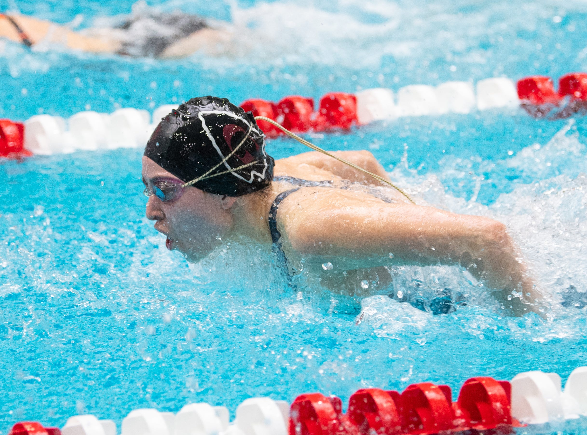 Morgan Newell of Gettysburg competes in the Girls 100 Yard Butterfly during the PIAA District 3 Girls AA Championship, March 1, 2019 at Cumberland Valley High School.