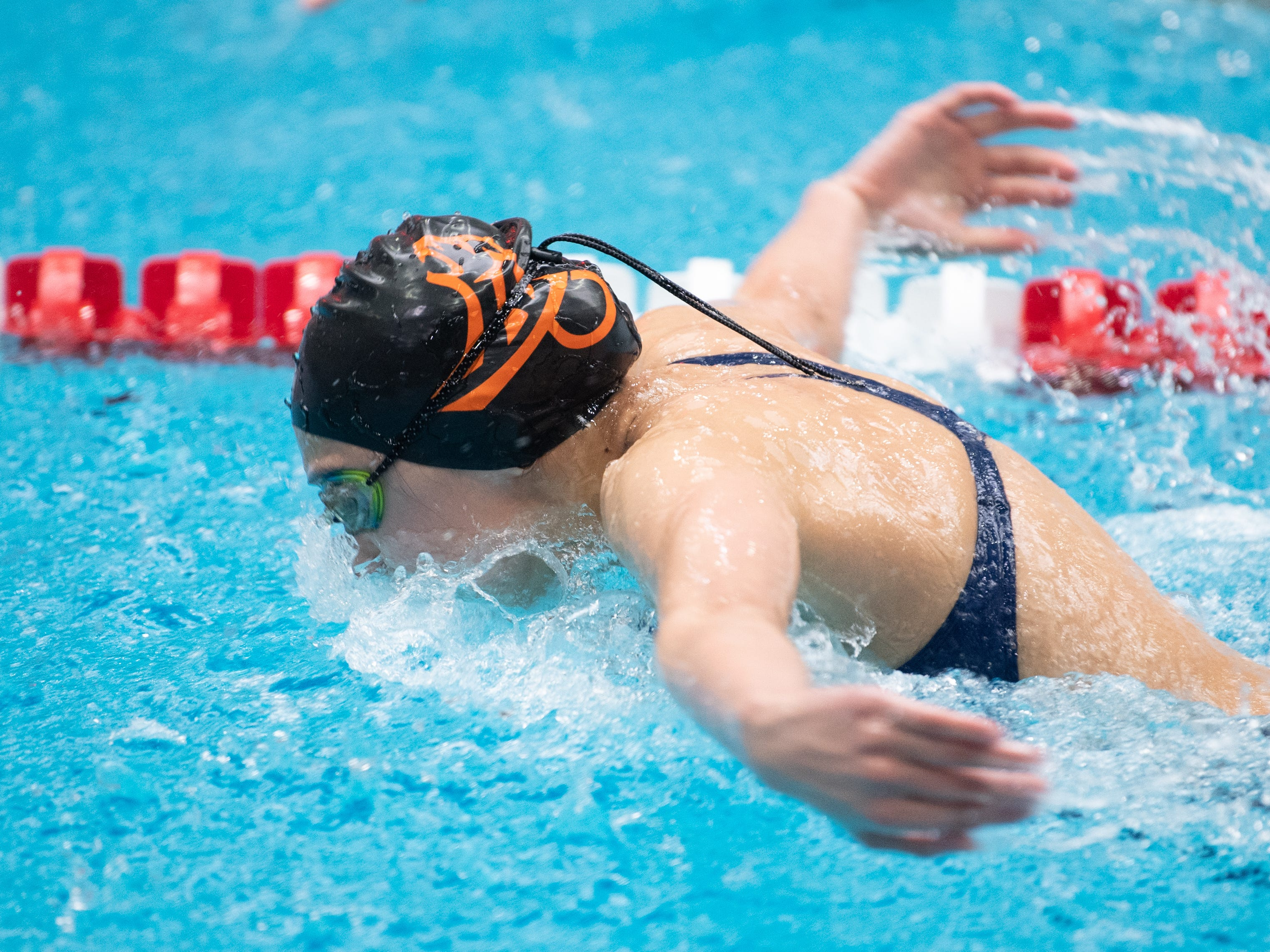 Isabelle Kil of East Pennsboro does the butterfly during the Girls 200 Yard IM in the PIAA District 3 Girls AA Championship, March 1, 2019 at Cumberland Valley High School.