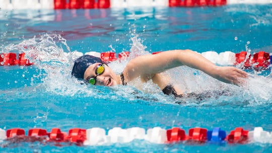 Meghan French of West York find her pace during the Girls 200 Yard Freestyle at the PIAA District 3 Girls AA Championship, March 1, 2019.