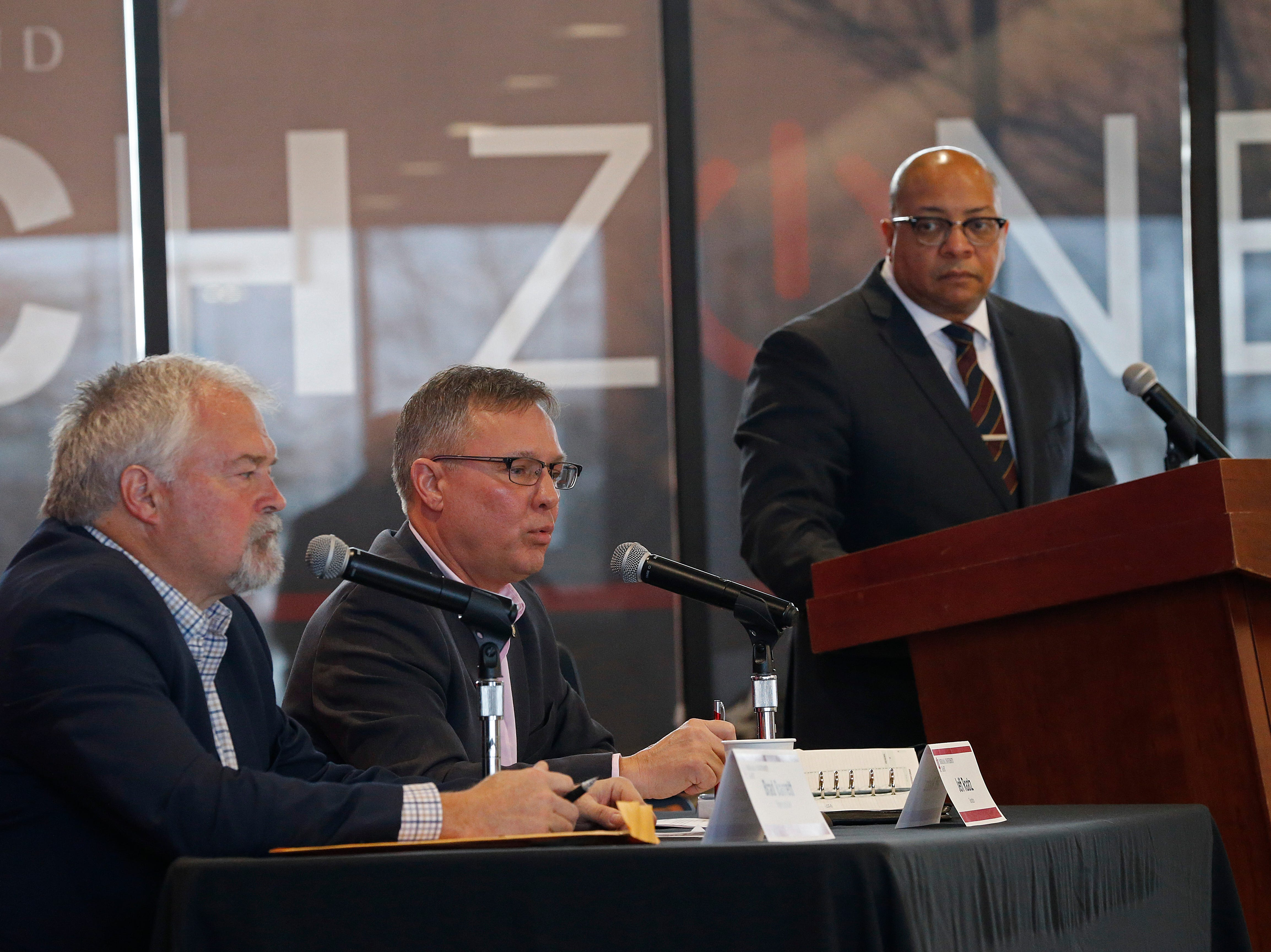 State Sen. Jeff Raatz (center) answers a question from the audience during Friday's Legislative Forum at IU East. It was the second of three such events planned for this year.