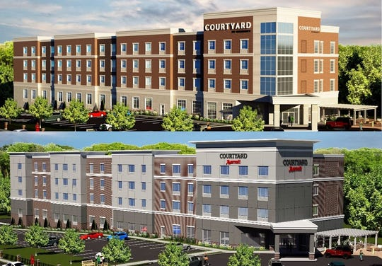 The latest design for a new Courtyard by Marriott (top) compared to the initial proposal (below) at the current site of East Avenue Inn & Suites.