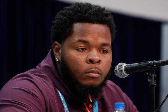 Florida offensive lineman Jawaan Taylor speaks to the media during the 2019 NFL Scouting Combine.