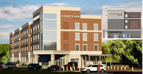 A view from East Avenue of the latest design for a Courtyard by Marriott, proposed to replace East Avenue Inn & Suites, with the previous design shown in the insert.