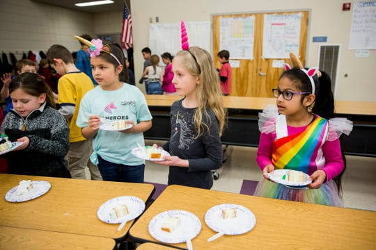 Students at Lee Elementary School celebrate rare disease day and support Haley Pollman by dressing up as unicorns and zebras at school in Salem on Thursday, Feb. 28, 2019.