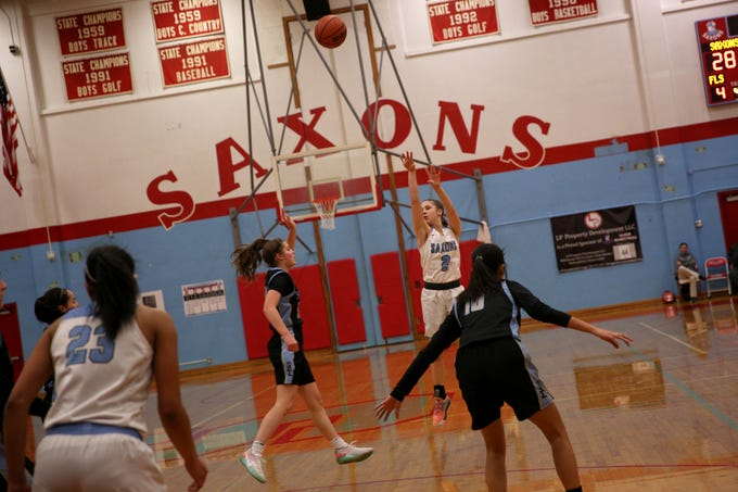 South Salem's Hilary James (2) attempts a 3-point shot during the South Salem vs. Mountainside girls basketball OSAA playoff game in Salem on Thursday, Feb. 28, 2019.