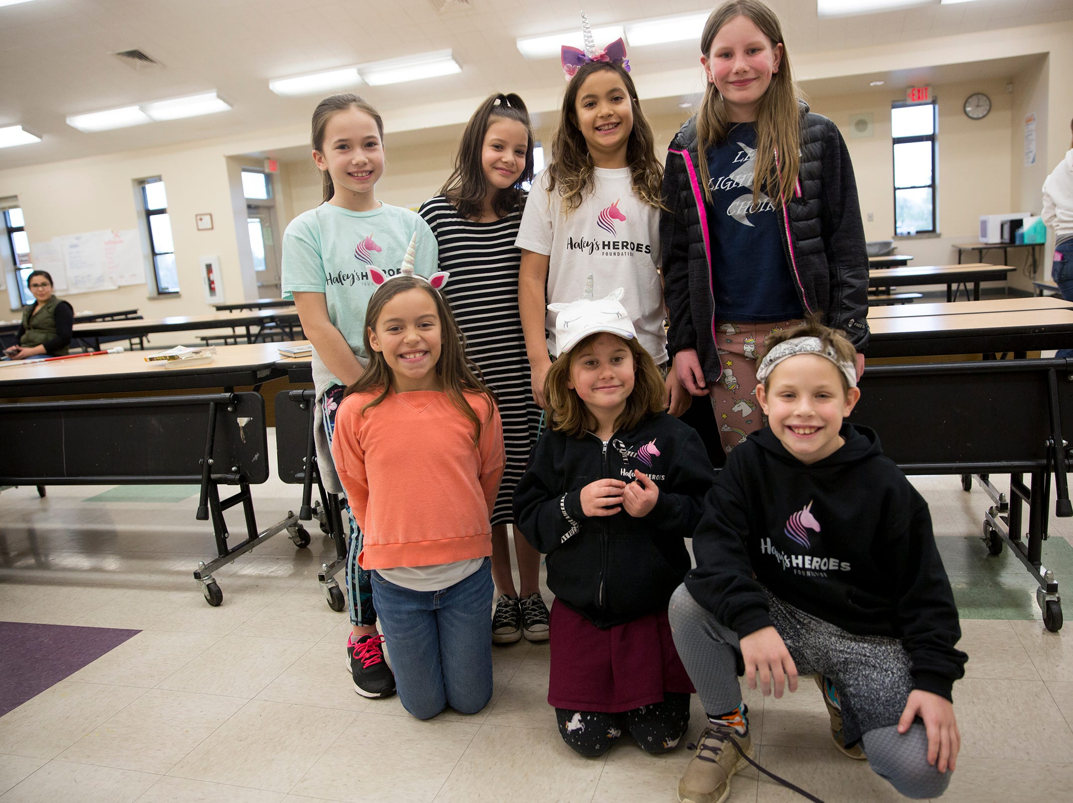 Haley Pollman and her classmates on rare disease day at Lee Elementary School in Salem on Thursday, Feb. 28, 2019. Students got to dress up as unicorns and zebras for the day.