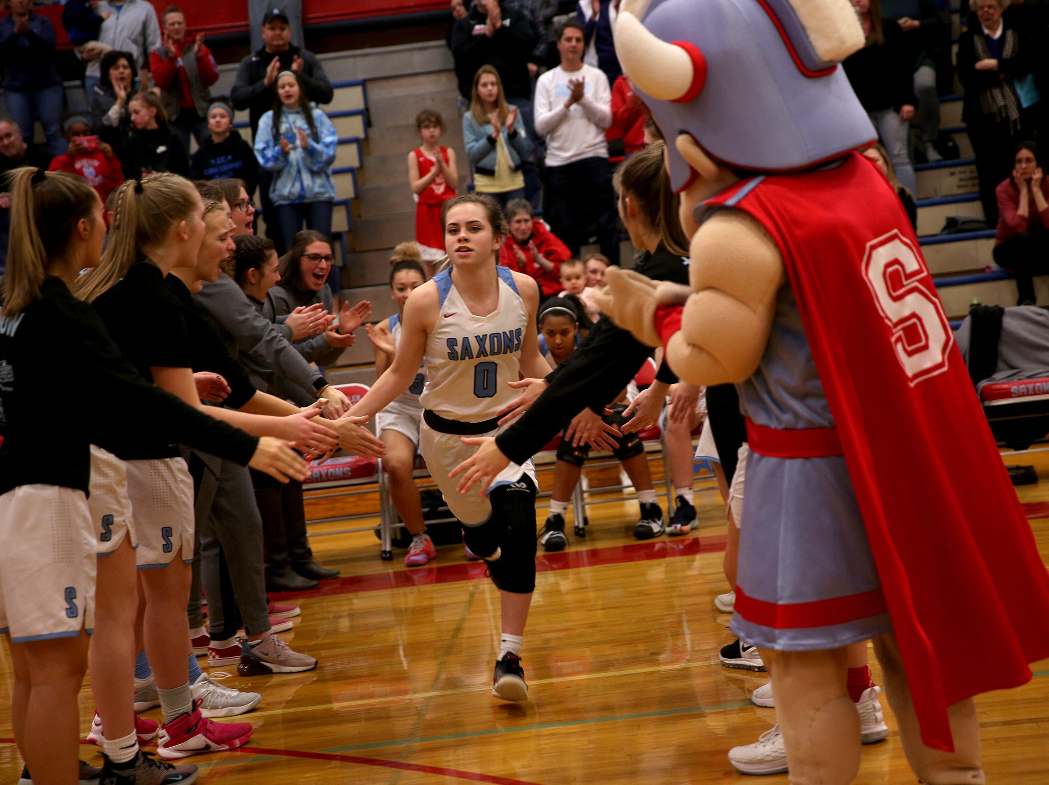 South Salem's Ellyson Haytas (0) is introduced in the starting lineup during the South Salem vs. Mountainside girls basketball OSAA playoff game in Salem on Thursday, Feb. 28, 2019.