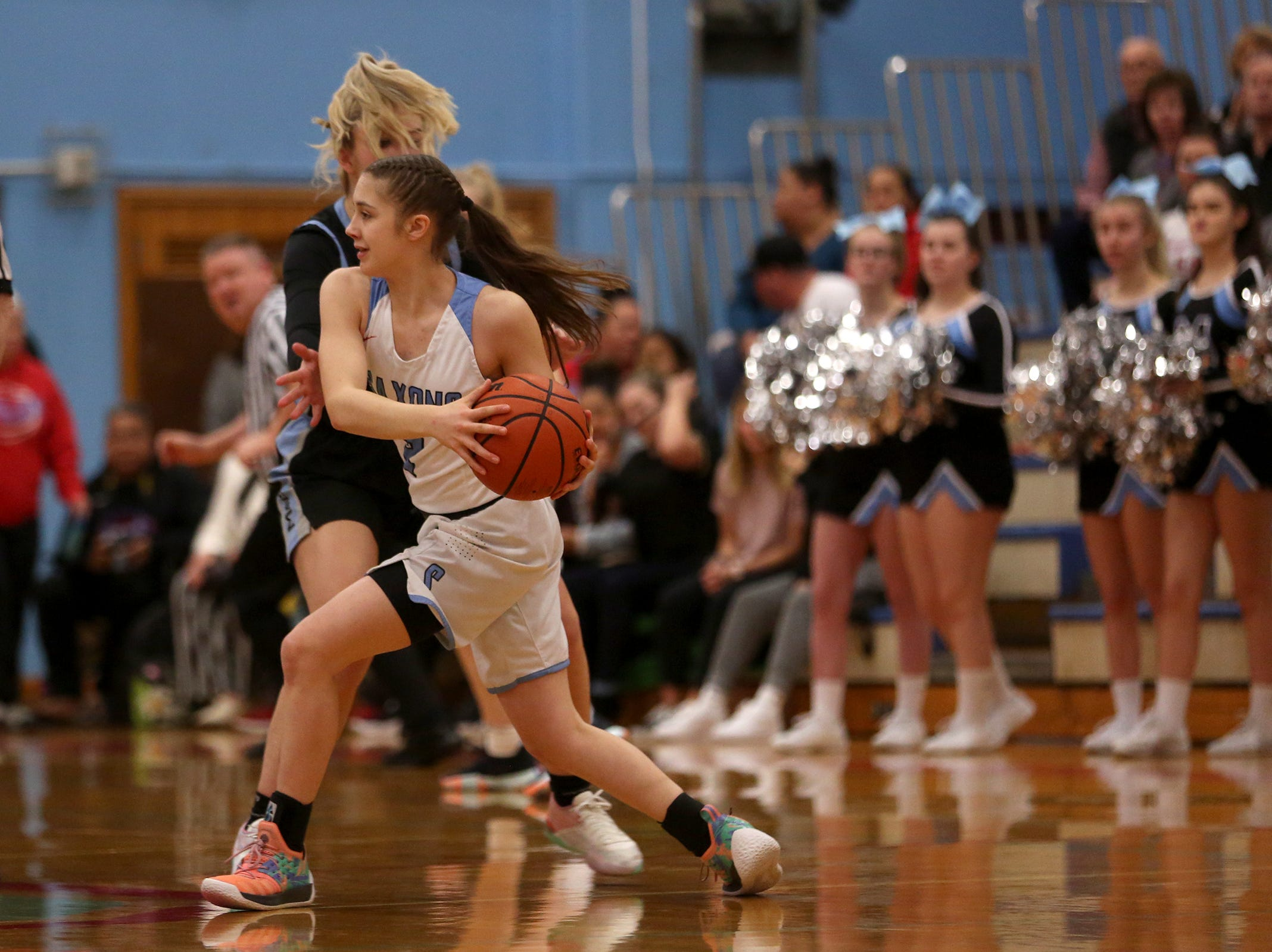 South Salem's Hilary James (2) blows by Mountainside's defense during the South Salem vs. Mountainside girls basketball OSAA playoff game in Salem on Thursday, Feb. 28, 2019.