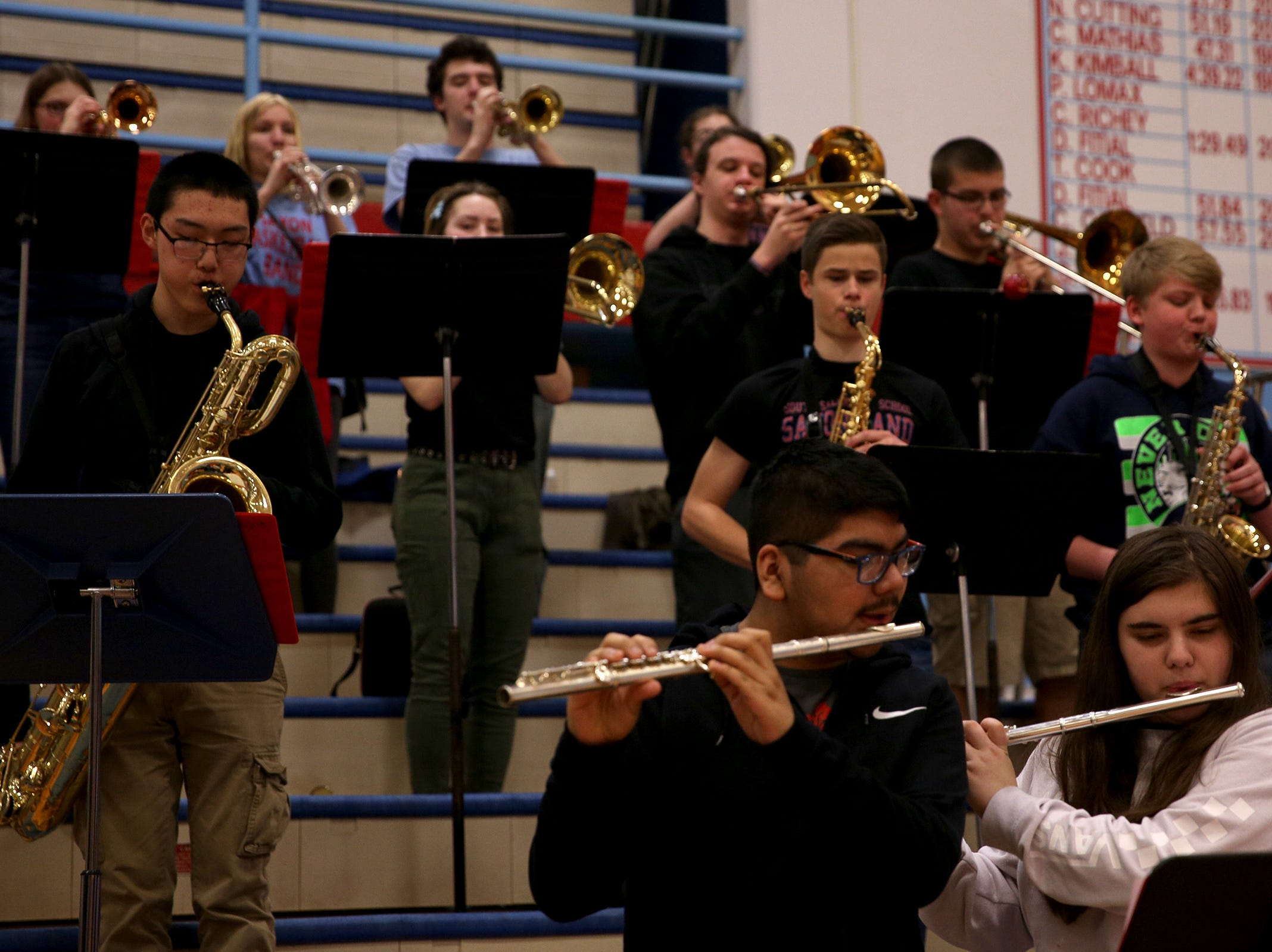 South Salem band students perform the national anthem before the South Salem vs. Mountainside girls basketball OSAA playoff game in Salem on Thursday, Feb. 28, 2019.