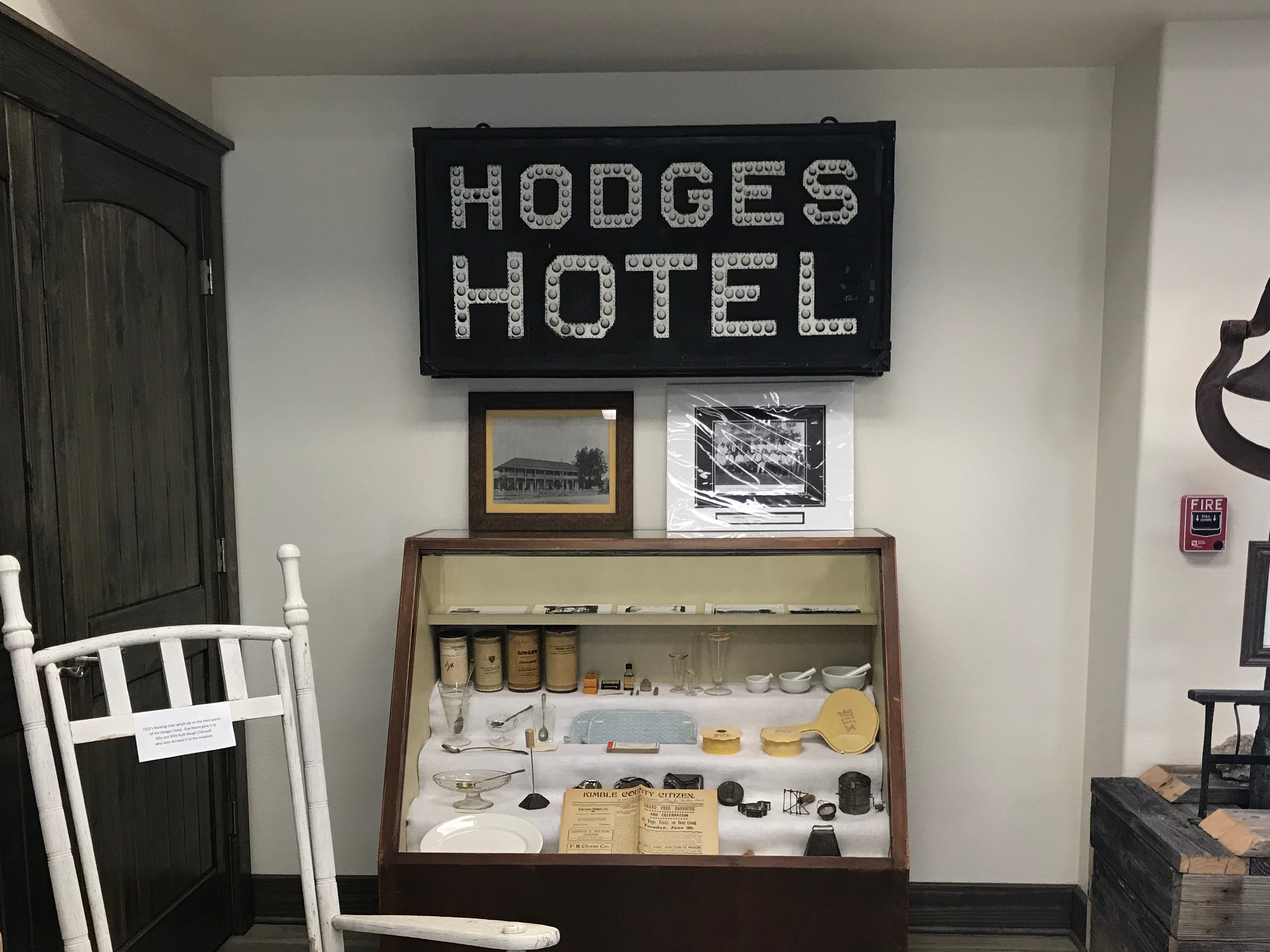 Memorabilia from the Hodges Hotel dates back to the 1880s in the Kimble County Historical Museum in Junction.