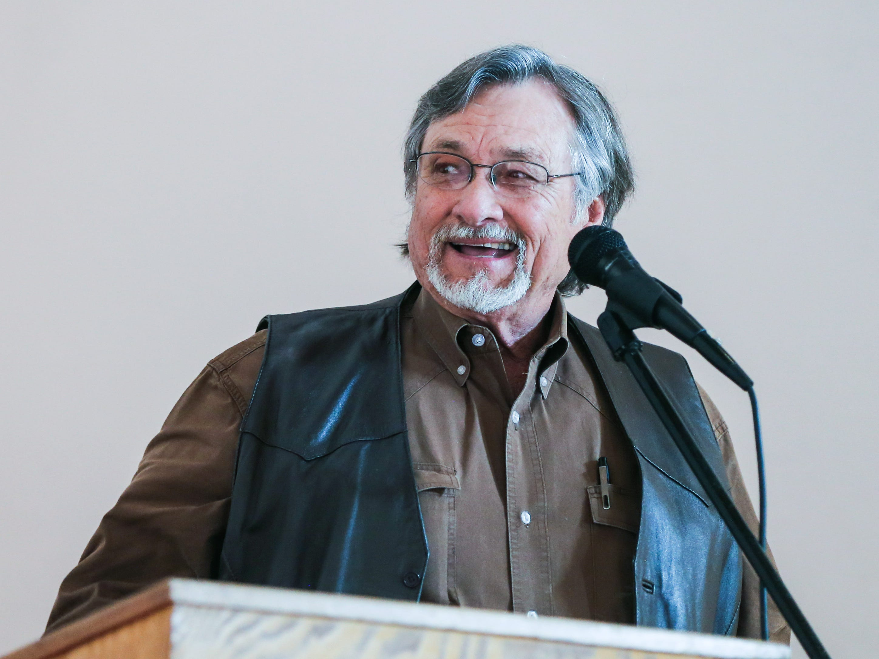 Dwain Morrison talks during Justice Allen Gilbert's retirement party Friday, March 1, 2019, at Fort Concho.