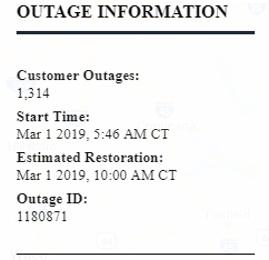 More than 1,300 without power in Ozona, Texas Friday morning.