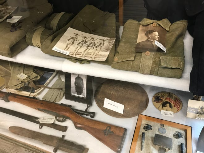 World War I artifacts rest behind a glass case at the Kimble County Historical Museum in Junction.