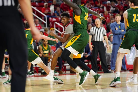 South Dakota guard Triston Simpson drives to the basket against North Dakota State on Thursday, Feb. 28.