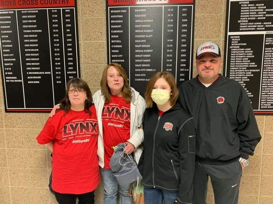 Trudie Havermann, Pam Burford, Hollie Burford and Joseph Haverman following the donor appreciation ceremony at Brandon Valley High School on Friday, Feb. 22.
