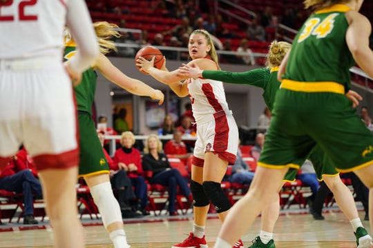 South Dakota guard Taylor Frederick looks to pass against North Dakota State on Thursday, Feb. 28 in Vermillion.