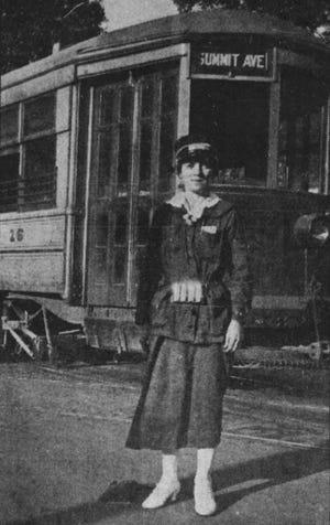 Bessie Bendt in front of her Summit Avenue Trolley in 1918.