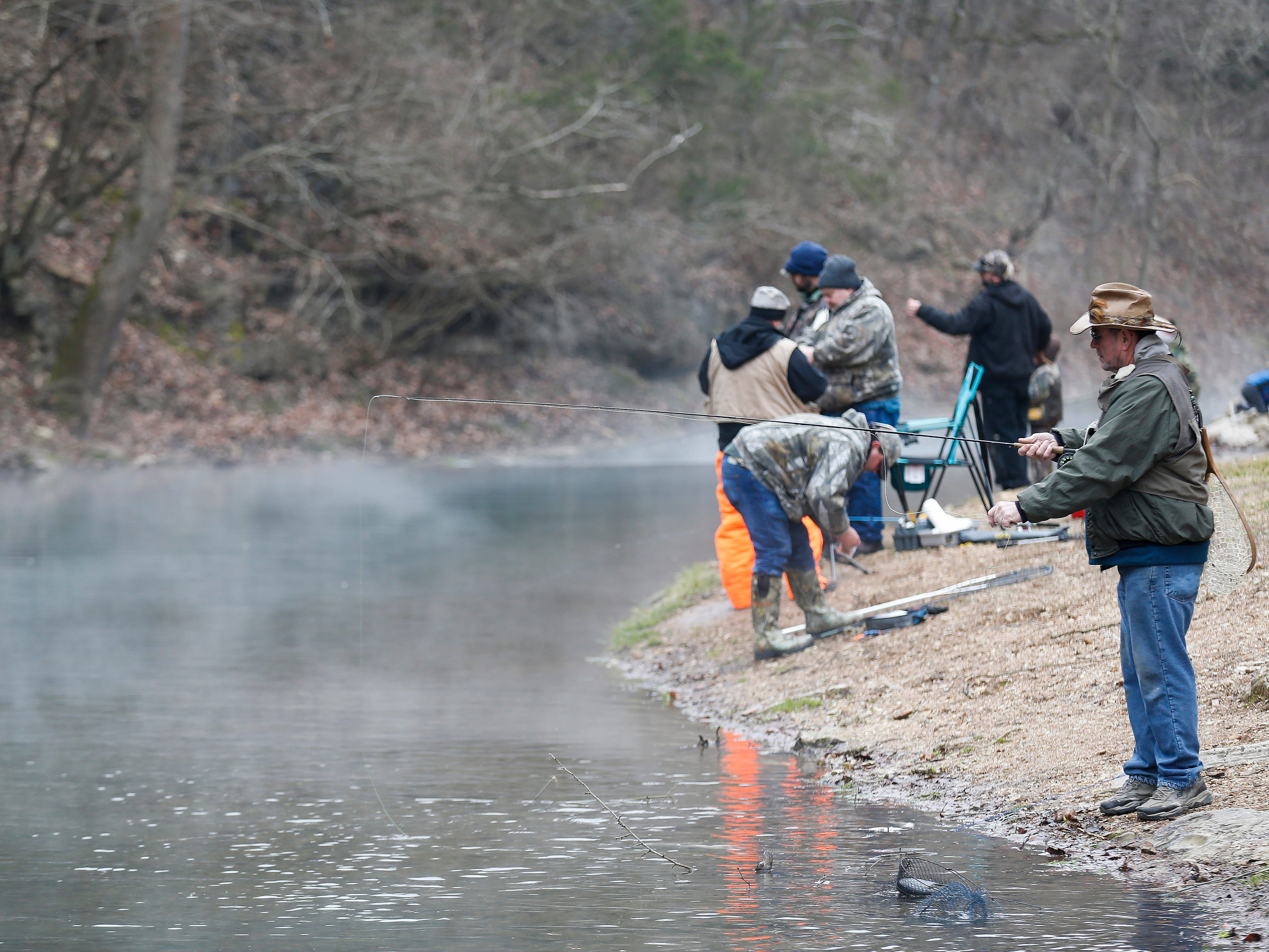 Scenes from opening day of trout season at Roaring River State Park on Friday, Mar. 1, 2019.