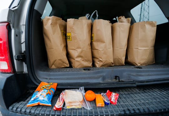 The contents of the sack lunches Marti Knaur prepared for homeless people on Friday, March 1, 2019.