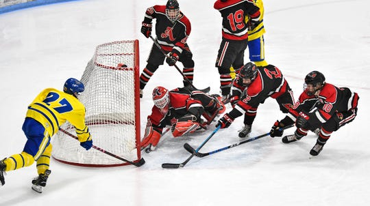 Cathedral's Blake Perbix takes a shot on Alexandria goaltender Bailey Rosch during the first period of the Section 6A championship game Thursday, Feb. 28, at the MAC in St. Cloud.