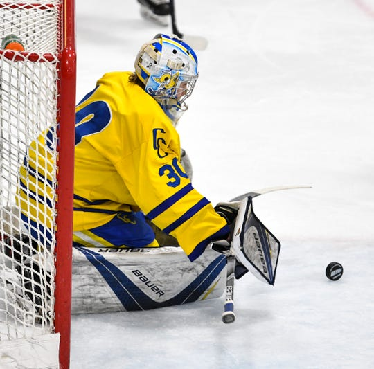 Cathedral goaltender Noah Amundson makes a save during the second period of the Section 6A championship game Thursday, Feb. 28, at the MAC in St. Cloud.