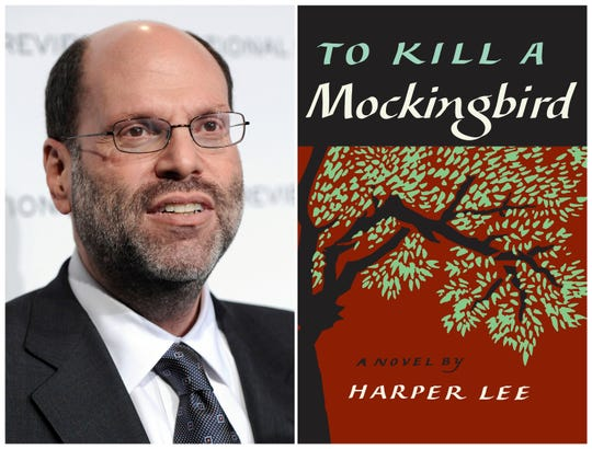 "This combination photo shows Hollywood and Broadway producer Scott Rudin at The National Board of Review Motion Pictures awards gala in New York on Jan. 11, 2011, left, and the cover of Harper Lee's ""To Kill a Mockingbird."" Dozens of community and non-profit theaters across the U.S. have been forced to abandon productions of ""To Kill a Mockingbird"" under legal threat by Rudin. The combative move has prompted calls for a boycott of Rudin's work. Rudin is arguing that author Harper Lee signed over exclusive worldwide rights to the title of the novel and that Rudin's current adaptation on Broadway is the only version allowed to be performed. (AP Photo/Evan Agostini, File)"