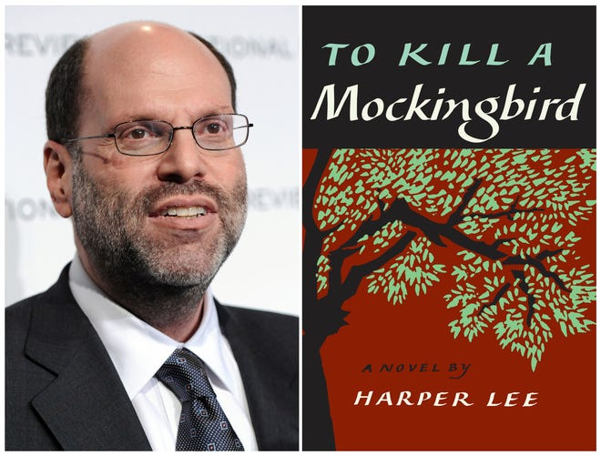 """This combination photo shows Hollywood and Broadway producer Scott Rudin at The National Board of Review Motion Pictures awards gala in New York on Jan. 11, 2011, left, and the cover of Harper Lee's """"To Kill a Mockingbird."""" Dozens of community and non-profit theaters across the U.S. have been forced to abandon productions of """"To Kill a Mockingbird"""" under legal threat by Rudin. The combative move has prompted calls for a boycott of Rudin's work. Rudin is arguing that author Harper Lee signed over exclusive worldwide rights to the title of the novel and that Rudin's current adaptation on Broadway is the only version allowed to be performed. (AP Photo/Evan Agostini, File)"""