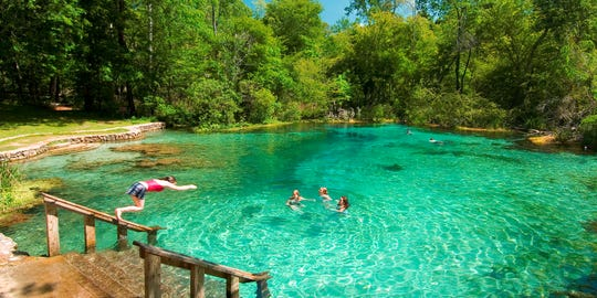 Swimmers enjoy a day at Ichetucknee Springs State Park.